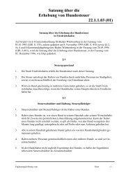 Satzung über die Erhebung der Hundesteuer