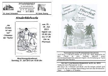 Den aktuellen Pfarrbrief Nr. 10/2013 lesen - Pfarrei Ihrlerstein