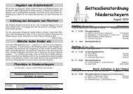 Gottesdienstordnung Niederscheyern - Pfarrei Scheyern