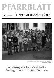 Samstag, 6. Juni, 17.00 Uhr - Pfarrei Stans