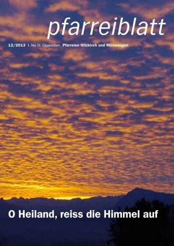 O Heiland, reiss die Himmel auf - Pfarrei Hitzkirch