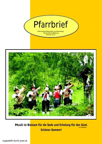 Pfarrbrief - Pfarrer von Mayrhofen und Brandberg