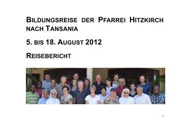 Reisebericht Tansania - Pfarrei Hitzkirch