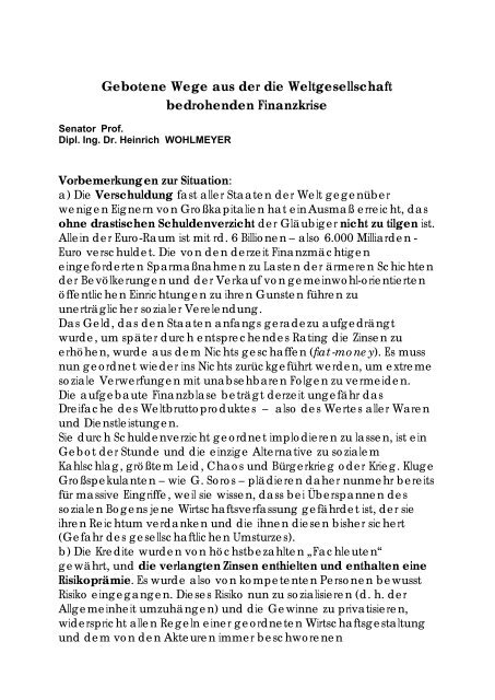 Gebotene Wege aus der Finanzkrise (PDF) - Pfarre Oberndorf an ...