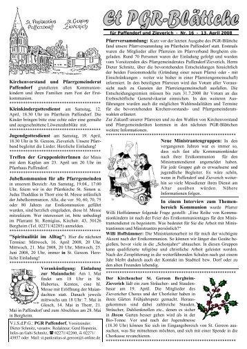 Kirchenvorstand und Pfarrgemeinderat ... - Pfarre Paffendorf