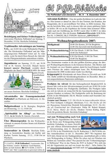 Weihnachtsgottesdienste 2007: - Pfarre Paffendorf