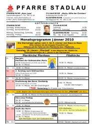 Monatsprogramm Jänner 2010 - 22., Pfarre Stadlau