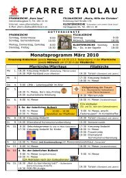Monatsprogramm März 2010 - 22., Pfarre Stadlau