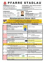 Monatsprogramm Jänner 2008 - 22., Pfarre Stadlau