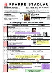 Monatsprogramm November 2010 - 22., Pfarre Stadlau