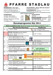 Monatsprogramm Mai 2008 - 22., Pfarre Stadlau