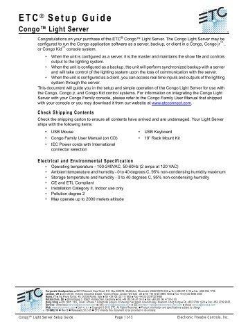 Congo™ Light Server Setup Guide Rev A - ETC