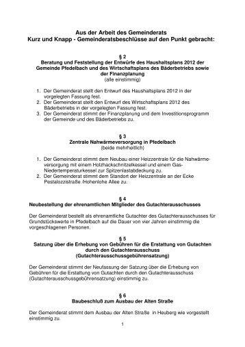 Bericht der Sitzung am 28.02.2012 - Gemeinde Pfedelbach