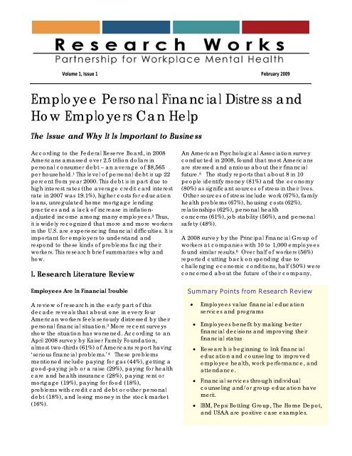 Employee Personal Financial Distress and How Employers