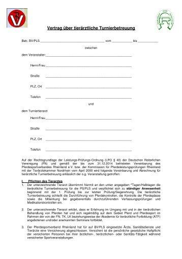 Muster Vertrag Tierãrztliche Turnierbetreuung Pferdesportverband