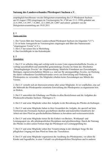Satzung des Landesverbandes Pferdesport Sachsen e.V.