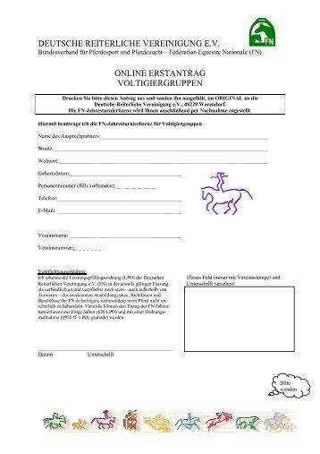 Antrag für Voltigiergruppen - Landesverbandes Pferdesport Sachsen