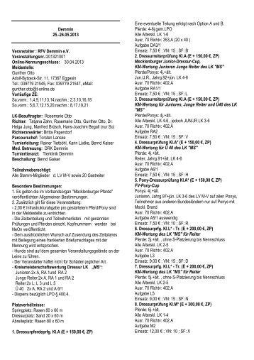 Demmin 25.-26.05.2013 Veranstalter : RFV Demmin e.V. ...