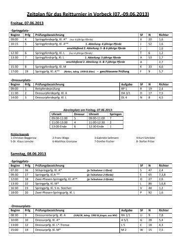 Zeitplan - Pferdesportverband-MV