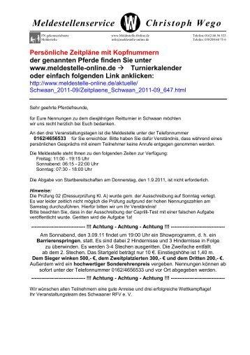 Zeitplan Richter Schwaan 2011-09 - Pferdesportverband-MV
