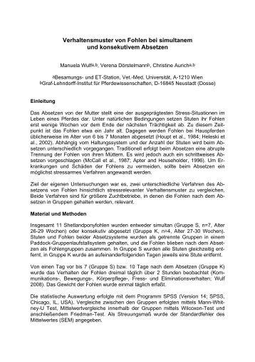 Verhaltensmuster von Fohlen bei simultanem und konsekutivem ...
