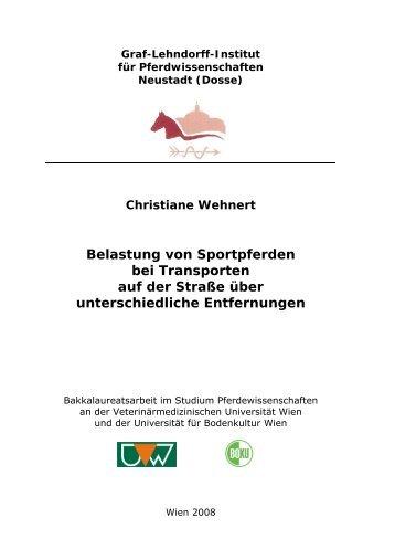 Wehnert C (2008) Belastung von Sportpferden bei Transporten auf ...