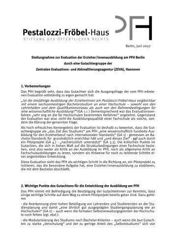 Stellungnahme des PFH zur Evaluation - Das Pestalozzi-Fröbel-Haus