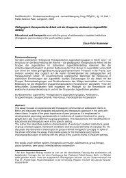 Beziehungsarbeit - Gruppentherapie - Das Pestalozzi-Fröbel-Haus