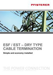 ESF / EST – Dry TypE cablE TErminaTion - Pfisterer