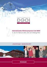 Internationales Wintersymposium der DGOI 11. bis 18. Februar 2012 ...