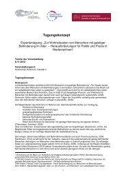 Tagungskonzept - Netzwerk - Pflege und Versorgungsforschung