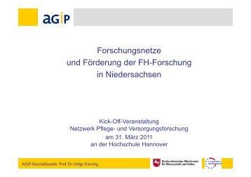 Forschungsnetze in Nds AGIP - Netzwerk - Pflege und ...