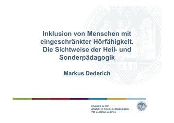 Präsentation Prof. Dr. Markus Dederich, Universität Köln - Netzwerk ...