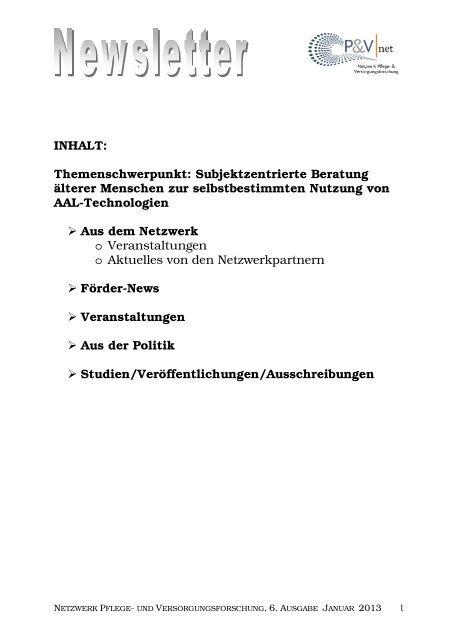 Newsletter Ausgabe 6 Januar 2013 - Netzwerk - Pflege und ...