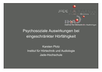 Präsentation Prof. Dr. Karsten Plotz, Jade Hochschule Oldenburg