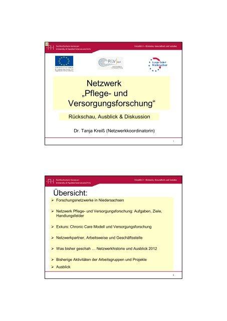 Vortrag zum Stand der Arbeit des Forschungsnetzes - Netzwerk ...