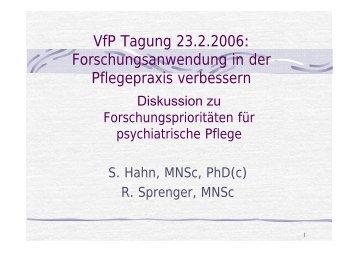 Referat S. Hahn, R. Sprenger, Psychiatrische Pflege
