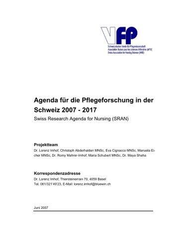 Agenda für die Pflegeforschung in der Schweiz 2007 - 2017 - VfP