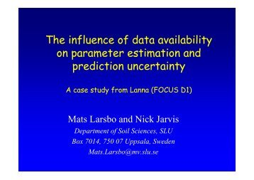 The influence of data availability on parameter estimation ... - pfmodels