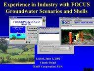 Experience in industry with FOCUS groundwater ... - pfmodels