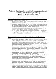 Notes on the discussion points following presentations ... - pfmodels