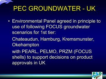 PEC in surface water via drainflow - pfmodels