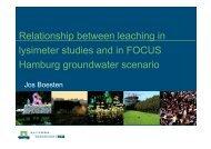 Relationship between leaching in lysimeter studies and ... - pfmodels