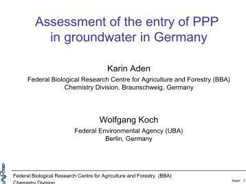 Assessment of the entry of PPP in groundwater in Germany - pfmodels