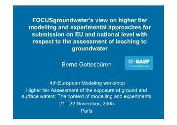 FOCUS groundwater's view on higher tier modelling and ... - pfmodels