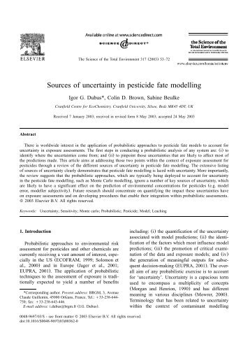 Sources of uncertainty in pesticide fate modelling - pfmodels