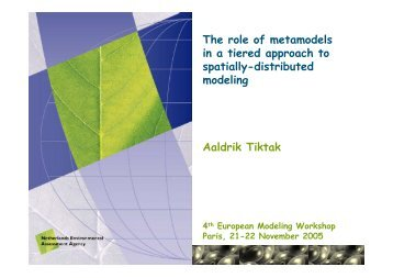 The role of metamodels in a tiered approach to spatially ... - pfmodels