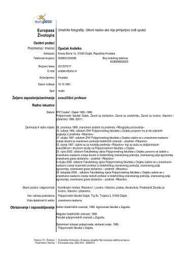 Europass-Curriculum Vitae - Poljoprivredni fakultet u Osijeku