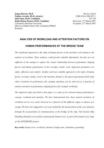 analysis of workload and attention factors on human performances