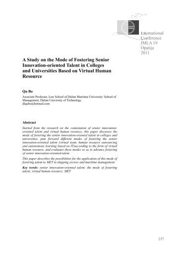 A Study on the Mode of Fostering Senior Innovation-oriented Talent ...